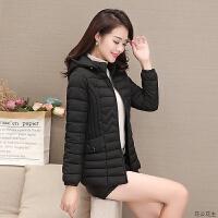 女士小女短款2018新款时尚韩版修身连帽轻薄小女冬季外套