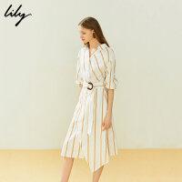 【25折到手价:224.75元】 Lily20夏新款气质条纹收腰中袖长款衬衫式连衣裙女119230C7164