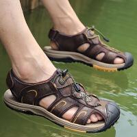 夏季包头凉鞋男户外运动登山凉鞋男士真皮防滑涉水沙滩鞋