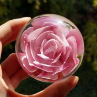 玻璃水晶球家居装饰办公桌摆件情人结婚礼物仿真永生玫瑰花朵镇纸