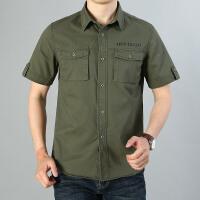 夏季纯棉短袖工装衬衫男青年宽松港风五分袖上衣军绿色外穿衬衣潮19001短袖衬衫