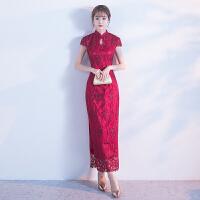 新娘敬酒服2018新款秋改良版中式结婚礼服女红色旗袍中国风中长款 X