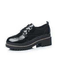 春季2019新款女鞋休闲圆头粗跟低帮鞋 韩版雕花金属链条单鞋 黑色