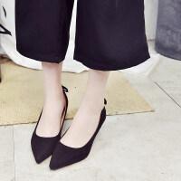 细跟高跟鞋女新款春季单鞋女士尖头绒面浅口中跟猫跟鞋一脚蹬 黑色 34
