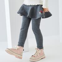 618【2件4折:79.6元】迪士尼女童加绒裙式打底裤2020秋冬儿童宝宝米妮洋气卡通休闲裤子