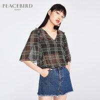雪纺上衣女2019夏装新款V领印花格子水袖雪纺衫直筒短款太平鸟女