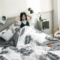 床单四件套全棉纯棉 ins风床上用品床笠款双人1.8m被套三件套