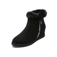 【 限时4折】哈森旗下爱旅儿冬季女鞋保暖兔毛内增高迷你短靴EA72102