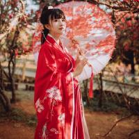 松萝-秋冬传统汉服女双绕曲裾 修身显瘦红色交领齐腰 非演出古装