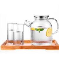 不锈钢盖冷水壶玻璃耐高温凉水壶套装家用玻璃壶水果花茶壶水杯壶组合