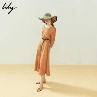 【25折到手价:274.75元】 Lily20夏新款复古洋气茶色方形领收腰长款连衣裙女119220C7125