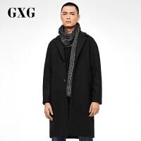 【GXG&大牌日 2.5折到手�r:469.75】GXG男�b 冬�b男士黑色中�L款羊毛呢大衣外套#174826001