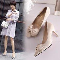 女鞋高跟鞋细跟性感蝴蝶结绒面浅口细跟中跟7cm性感尖头工作单鞋