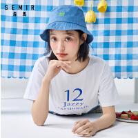 森马2020夏季新款弹力短袖T恤女落肩袖套头印花体恤上衣学生潮流