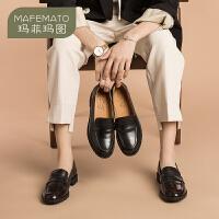 【下单只需要229元】玛菲玛图乐福鞋女2020春季新品英伦风休闲学生牛皮鞋黑色百搭小皮鞋女单鞋13556-3W