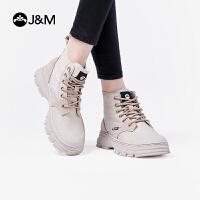 【爆款潮靴】JM快乐玛丽2019秋季新款高帮鞋英伦风工装靴潮鞋真皮马丁靴女