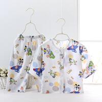 宝宝睡衣夏季男童女童空调服儿童绵绸套装春秋装婴儿幼儿薄款棉绸