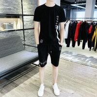 夏季短袖T恤套装男士圆领2019新款韩版潮流男生休闲运动服两件套116