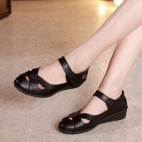 新款软底舒适女鞋中老年女凉鞋平底妈妈鞋老人夏季皮凉鞋中年女士平跟妈妈
