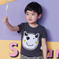 马拉丁童装男小童T恤深色趣味卡通图案儿童半袖2018夏装