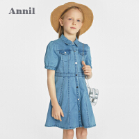 【2件4折价:159.6】安奈儿童装女童短袖连衣裙2021新款洋气薄款女孩牛仔裙子透气夏装