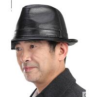 新款时尚户外休闲皮礼帽男中老年人帽子男士礼帽