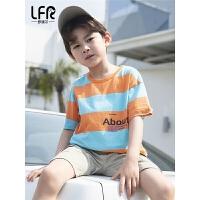 男童短袖夏装儿童纯棉T恤中大童薄款条纹打底衫