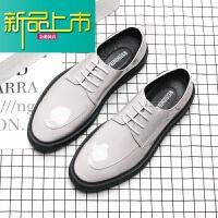 新品上市19春季新款韩版漆皮百搭男士亮面厚底增高鞋夜店男模型师皮鞋