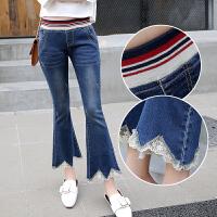 春夏款松紧腰牛仔裤女式韩版修身显瘦微喇叭裤牛仔裤九分裤