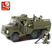 小鲁班拼装积木儿童智力拼插玩具陆军运兵车模型男孩6-7-9岁