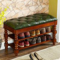 美式乡村风格实木换鞋凳收纳凳子储物凳鞋柜家用门厅进门穿鞋凳子收纳沙发凳门口鞋架创意家居