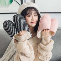 棉拖鞋秋冬季女家用情侣室内包跟居家居冬天毛毛绒男新款保暖