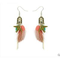 时尚甜美波西米亚花鸟羽毛耳环 欧美时尚饰品耳饰 可换无耳洞耳夹