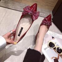 甜美蝴蝶结平底鞋女单鞋19春新款红色漆皮浅口尖头鞋软底豆豆鞋