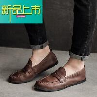 新品上市夏季韩版休闲皮鞋男真皮复古百搭豆豆鞋男士英伦时尚百搭小皮鞋潮