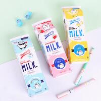 韩版创意可爱笔袋 趣味仿真牛奶笔袋 创意大容量小学生文具盒女简约笔盒收纳零钱包文具盒