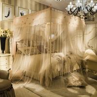 不锈钢蚊帐1.8m床双人家用三开门加粗不锈钢落地式宫廷方顶 1.5m(5英尺)床