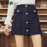 【清仓5折价206】Lagogo/拉谷谷2019年春季新款时尚优雅小香风半身裙女IABB162H43