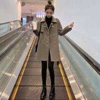 【品牌清�}】赫本�L小��子毛呢外套女中�L款2020秋冬新款�n版��松休�e呢子大衣