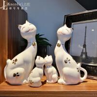 北欧ins摆件家居饰品可爱陶瓷猫客厅小摆设创意电视柜酒柜装饰品