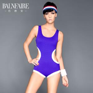 范德安新款镂空剪裁连体泳衣 魔力紫色温泉游泳衣