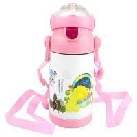 不锈钢儿童吸管杯保温杯宝宝水杯学饮杯 婴儿保温杯儿童保温水杯学生水壶 350ML粉色