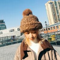 帽子女秋冬季韩版球球针织帽冬天加厚泰迪卷毛帽子甜美可爱