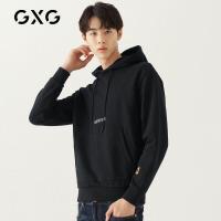 GXG男装 秋季男士时尚青年帅气韩版个性图案装饰黑色连帽卫衣男