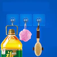 粘胶挂钩浴室白灰粉刷墙上壁挂门后吸盘式无痕粘钩承重免钉SN1688 透明色
