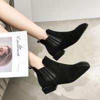 切尔西靴女2018秋冬季新款韩版学生粗跟英伦风复古马丁靴短筒靴子 黑色