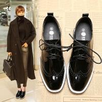 小皮鞋厚底布洛克女鞋夏季韩版英伦风复古松糕底系带漆皮单鞋平底