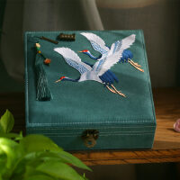 中式礼物古铜锁文艺刺绣首饰盒带锁嫁妆盒结婚礼品