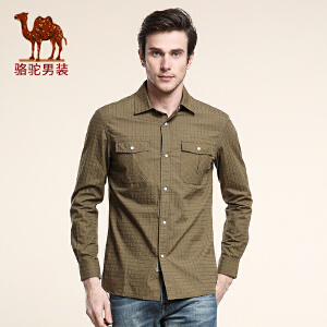 骆驼CAMEL 男装 春季新款衬衫 男士尖领长袖衬衫 美式休闲
