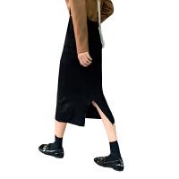 新年礼物秋冬女装韩版高腰针织半身裙中长款开叉A字裙包臀裙长裙学生裙子 均码